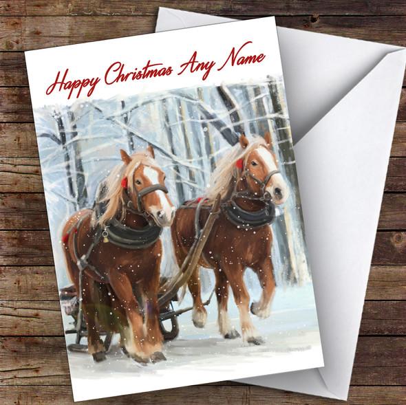 Horses & Carts Animal Personalised Christmas Card