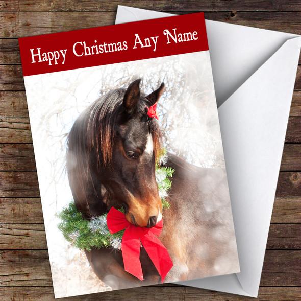 Festive Horse Animal Personalised Christmas Card
