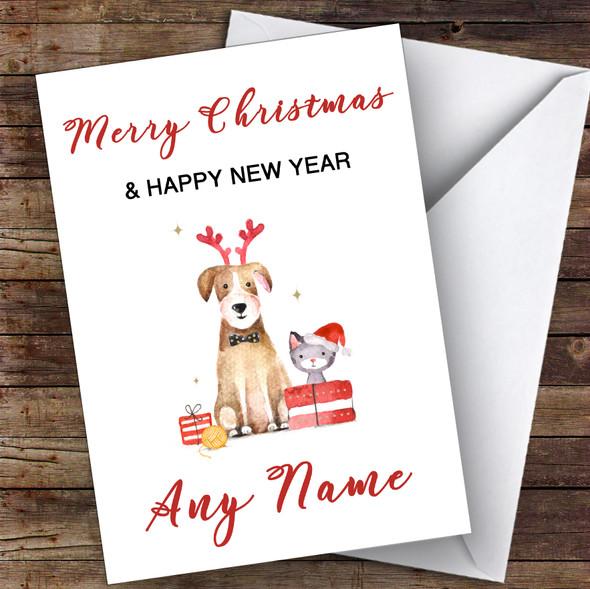 Cute Dog & Cat Watercolour Cute Personalised Christmas Card