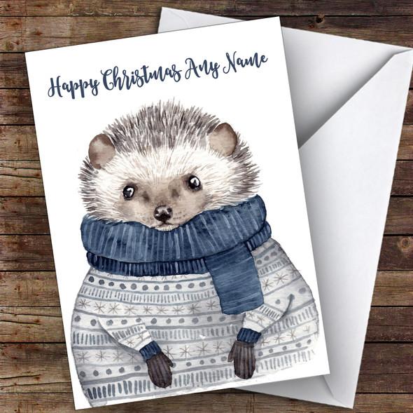 Warm Xmas Jumper Hedgehog Cute Personalised Christmas Card