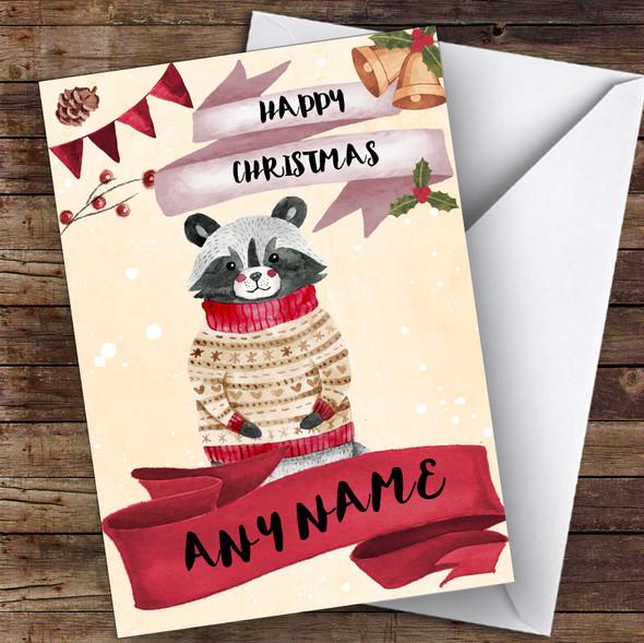 Watercolour Snowy Raccoon Cute Personalised Christmas Card