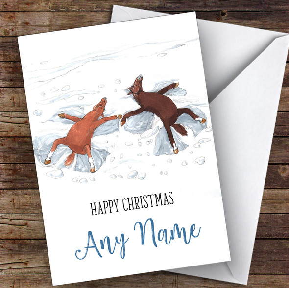 Funny Horse Snow Angels Cute Personalised Christmas Card