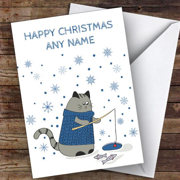 Cat Fishing Snowflakes Cute Personalised Christmas Card