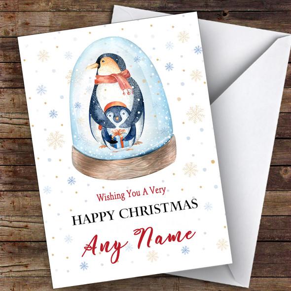 Penguins In Snow Globe Cute Personalised Christmas Card