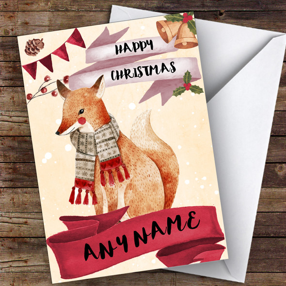 Watercolour Snowy Fox Cute Personalised Christmas Card