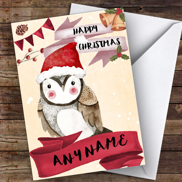 Watercolour Snowy Owl Cute Personalised Christmas Card