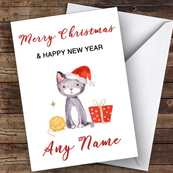 Cute Cat Watercolour Cute Personalised Christmas Card