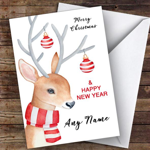 Watercolour Reindeer Cute Personalised Christmas Card