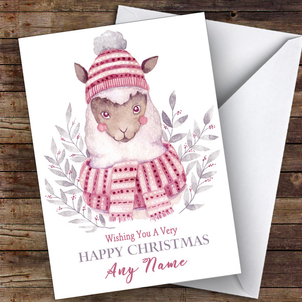 Watercolour Alpaca Cute Personalised Christmas Card