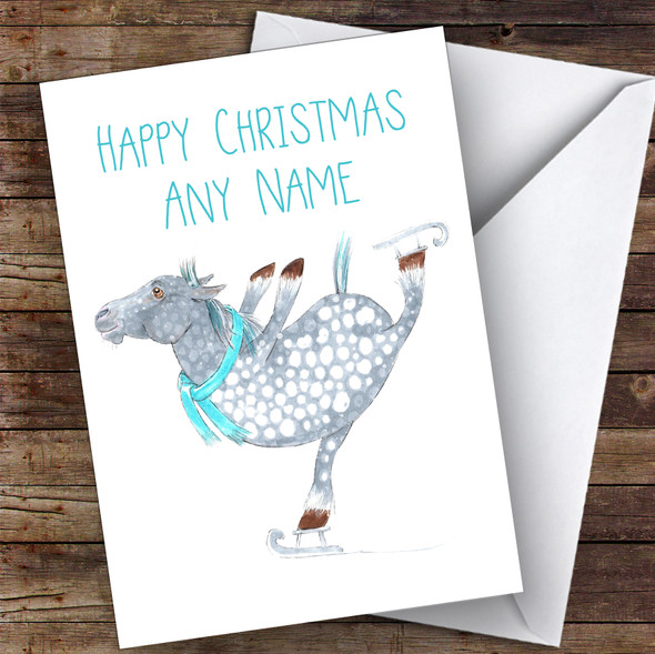 Ice Skating Horse Cute Personalised Christmas Card