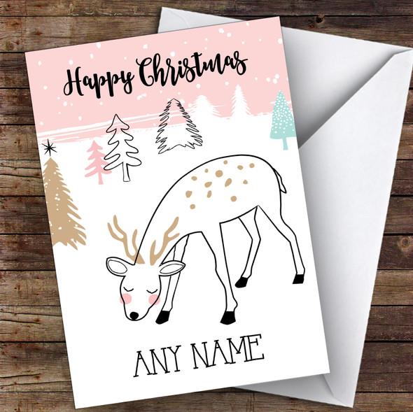 Cute Doodle Deer Cute Personalised Christmas Card