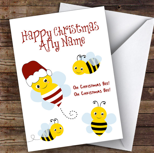 Oh Christmas Bee Cute Personalised Christmas Card