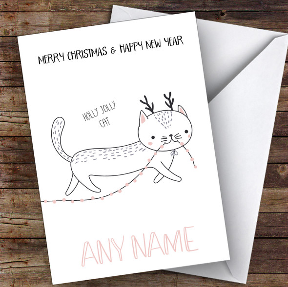Holly Jolly Cat Cute Personalised Christmas Card