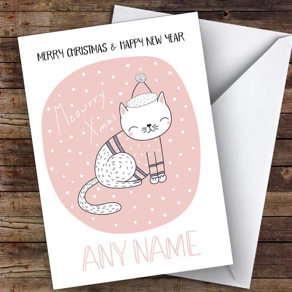 Meowry Cat Cute Personalised Christmas Card