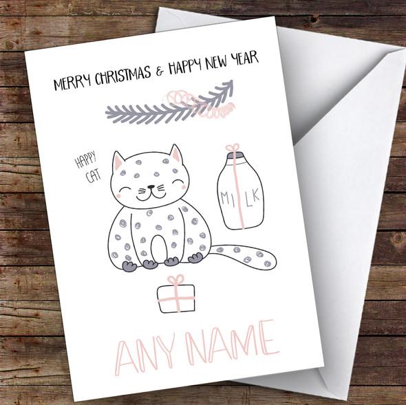 Happy Cat Cute Personalised Christmas Card