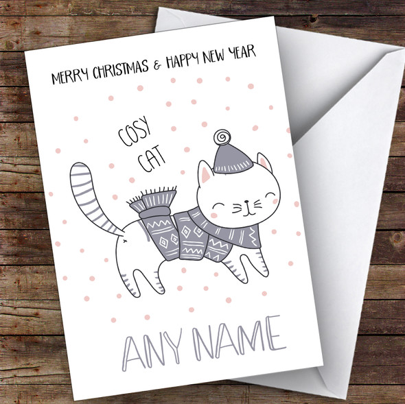 Cosy Cat Cute Personalised Christmas Card