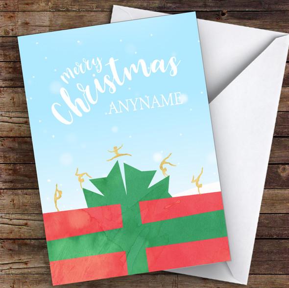 Gymnastics Silhouette Figures On Present Hobbies Personalised Christmas Card