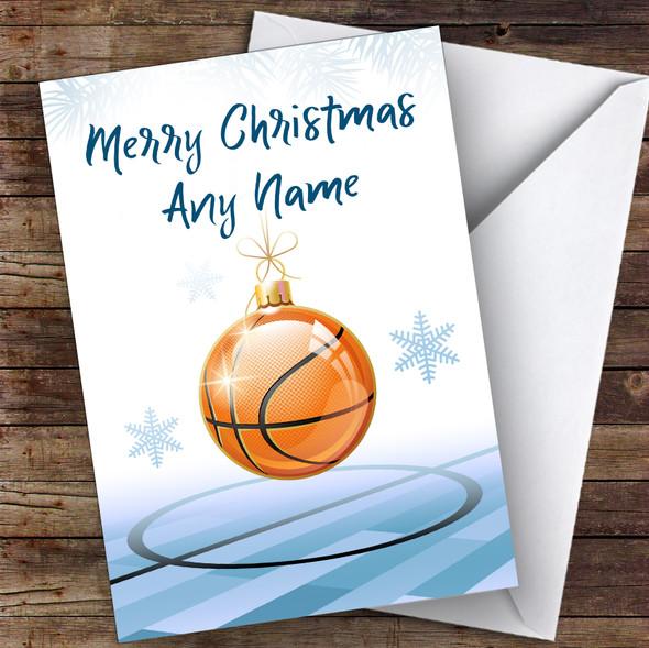Basketball Bauble Xmas Ornament Hobbies Personalised Christmas Card