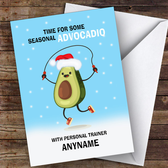 Personal Trainer Funny Avocadio Hobbies Personalised Christmas Card