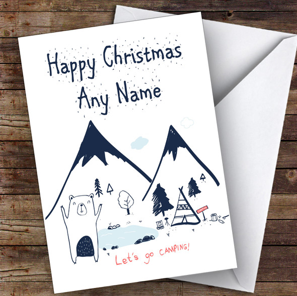 Bear Tent Camping In Mountains Hobbies Personalised Christmas Card