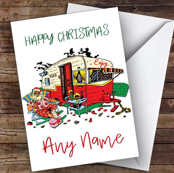 Camping Caravan Chilling Santa Hobbies Personalised Christmas Card