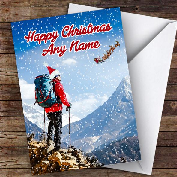 Hiker Walker Hiking Backpacker Hobbies Personalised Christmas Card