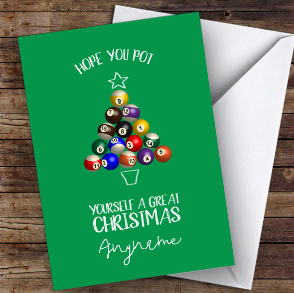 Snooker Funny Pot A Great Xmas Hobbies Personalised Christmas Card