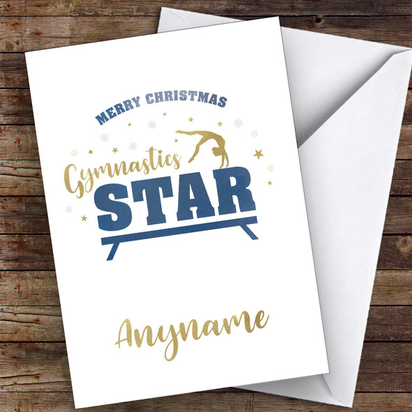 Gymnastics Gold & Blue Style Hobbies Personalised Christmas Card