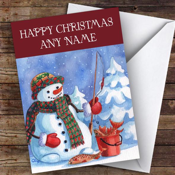 Watercolour Fishing Snowman Hobbies Personalised Christmas Card