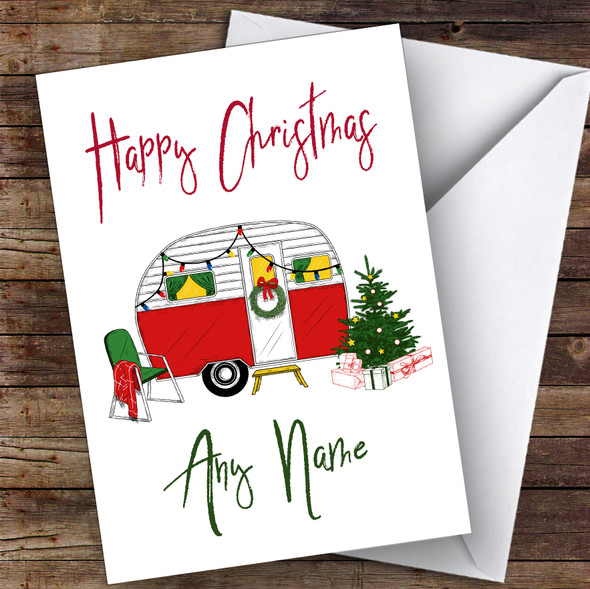 Caravan Rv Camping Trailer Hobbies Personalised Christmas Card