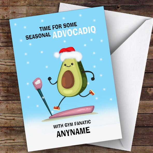 Gym Fanatic Funny Avocadio Hobbies Personalised Christmas Card
