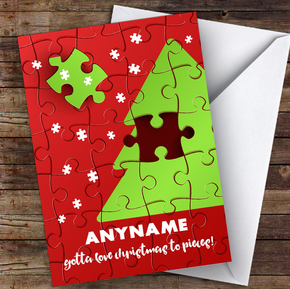 Jigsaw Love Xmas To Pieces Hobbies Personalised Christmas Card
