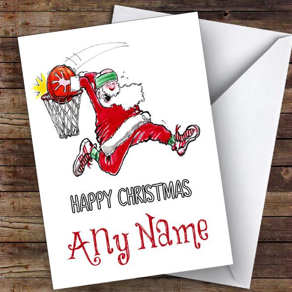 Santa Slam Dunk Basketball Hobbies Personalised Christmas Card