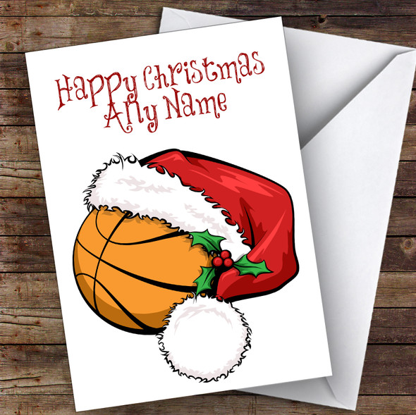 Basketball With Santa Hat Hobbies Personalised Christmas Card