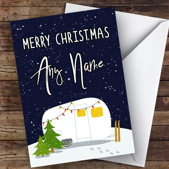 Caravan Rv Camping Lights Hobbies Personalised Christmas Card