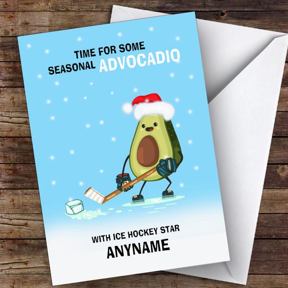 Ice Hockey Funny Avocadio Hobbies Personalised Christmas Card