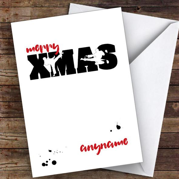 Karate Silhouette Figures Hobbies Personalised Christmas Card