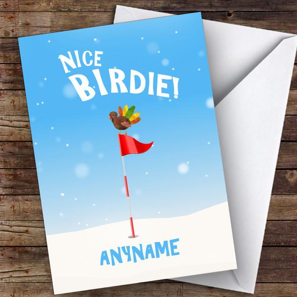 Golf Funny Turkey Birdie Hobbies Personalised Christmas Card
