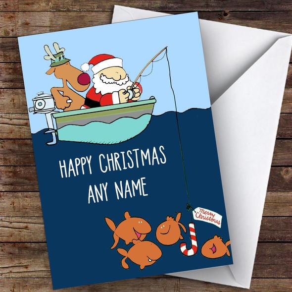 Santa & Rudolph Fishing Hobbies Personalised Christmas Card