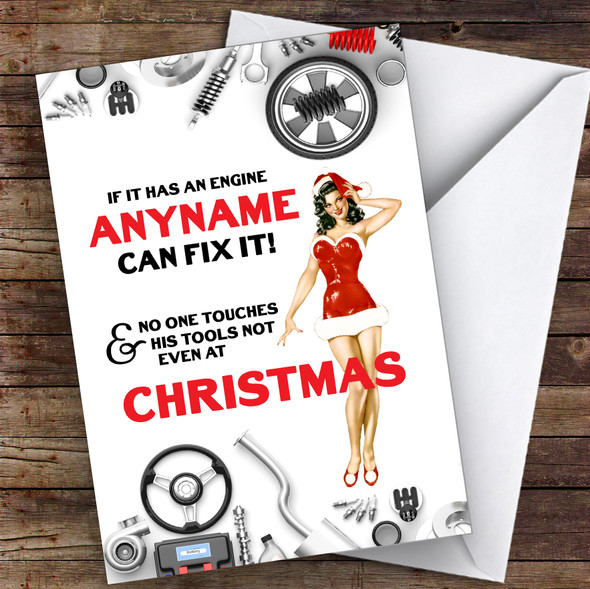 Car Fixing Funny Tools Hobbies Personalised Christmas Card