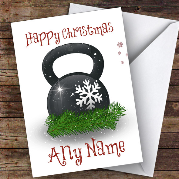 Kettlebell Gym Weight Hobbies Personalised Christmas Card