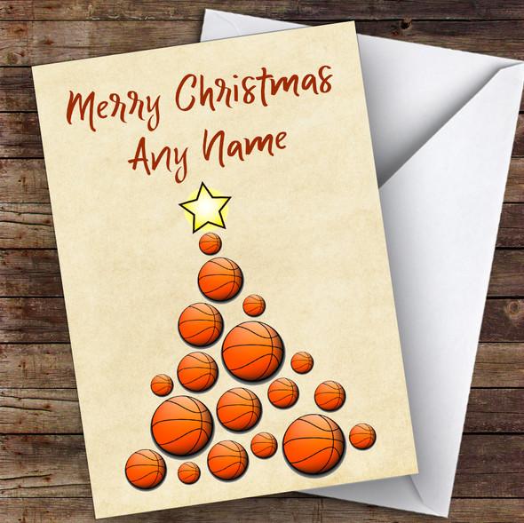 Basketball Xmas Tree Hobbies Personalised Christmas Card