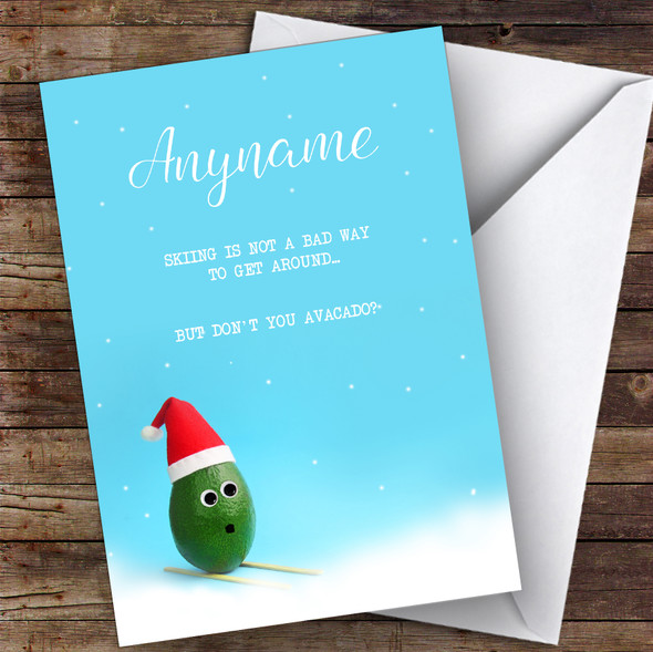 Skiing Funny Avocado Hobbies Personalised Christmas Card