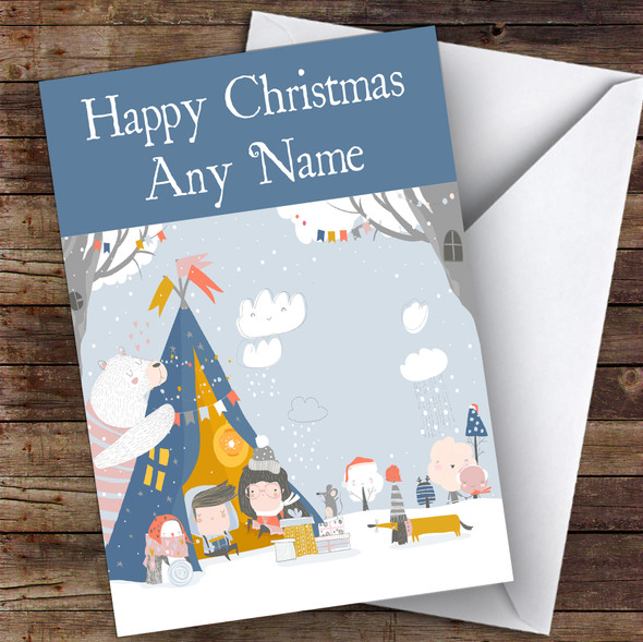 Tent Camping Snow Hobbies Personalised Christmas Card