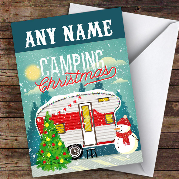 Camping Caravan Hobbies Personalised Christmas Card