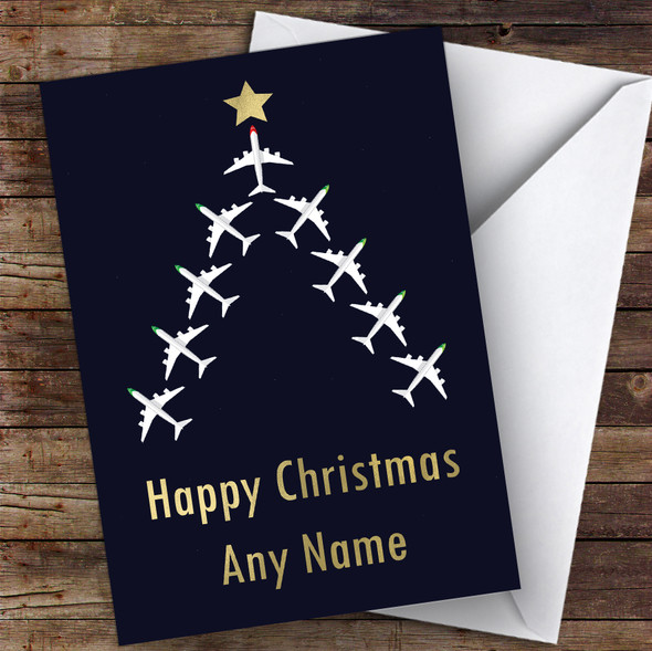 Aeroplane Tree Hobbies Personalised Christmas Card