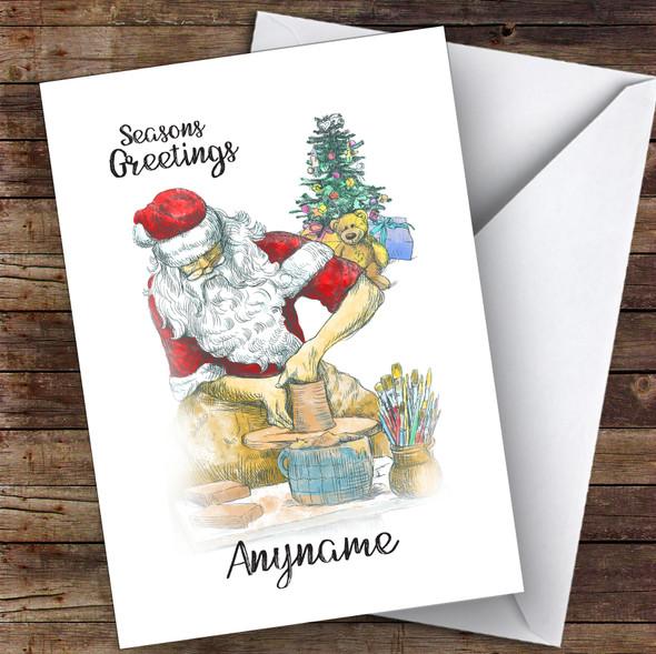 Pottery Santa Hobbies Personalised Christmas Card