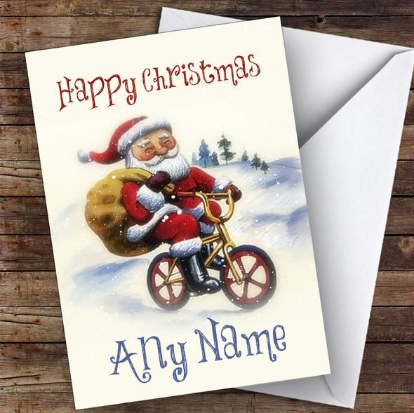 Santa On BMX Bike Traditional Personalised Christmas Card