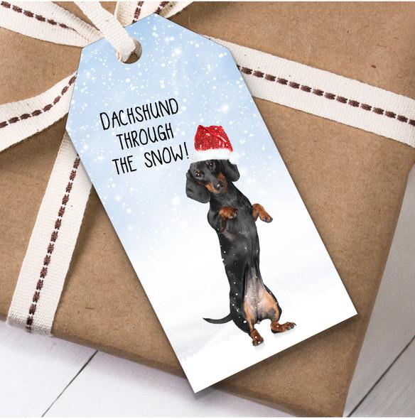 Funny Dachshund Dog Through The Snow Christmas Gift Tags