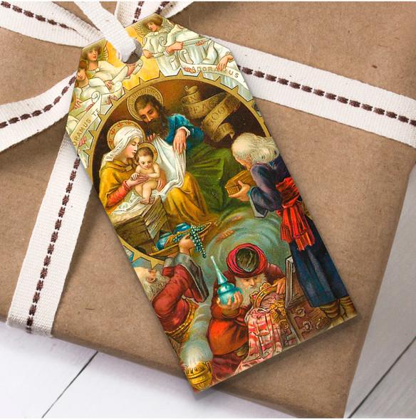 Vintage Traditional Baby Jesus Scene Christmas Gift Tags